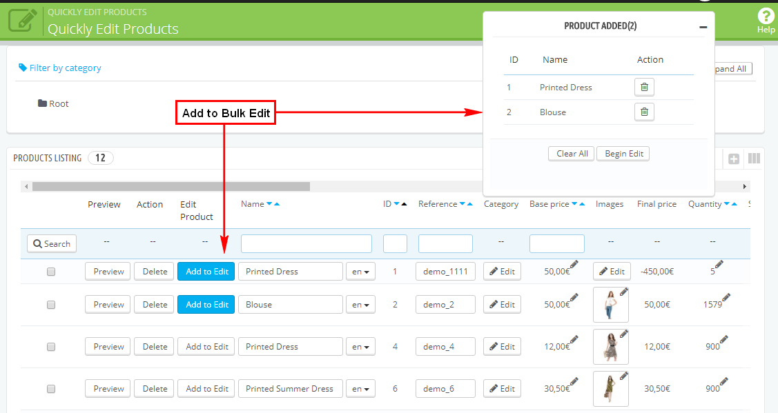 Prestashop Complete Quickly Edit Bulk/Mass Products Module - 2